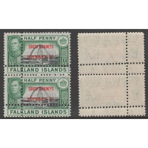 Falklands - S Orkneys 1944 KG6 1/2d  DOUBLE  PERFS - FORGERY