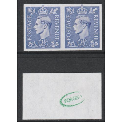 Great Britain 1941 KG6 2.5d light ult IMPERF pair - Maryland Forgery