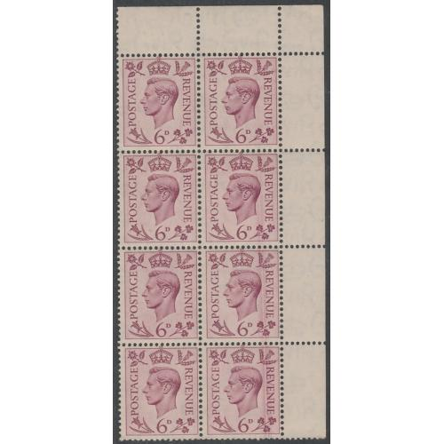 GB 1937 KG6 6d block of 8 with DOCTOR BLADE FLAW mnh