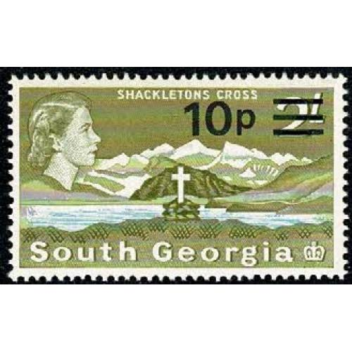 1971 10p on 2/- yellow olive & light blue. SG 28