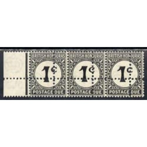 Br Honduras 1923 POSTAGE DUE 1c strip  with  DOUBLE  PERFS - FORGERY