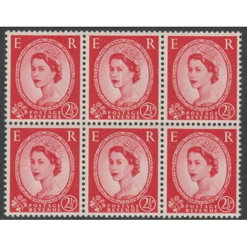 GB 1952 WILDING 2.5d Tudor block of 6 with DOCTOR BLADE FLAW mnh