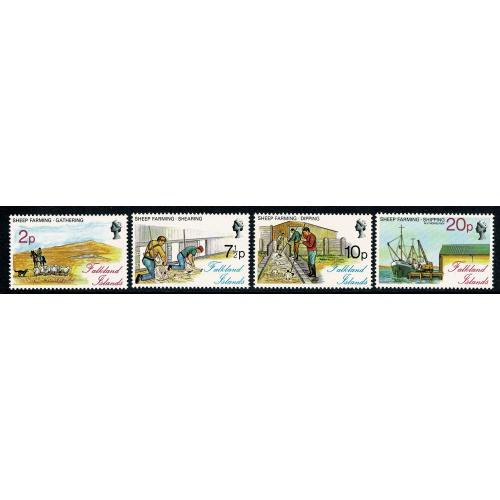 Falkland Islands. 1976 Sheep Farming. UM set of 4. SG 321-324