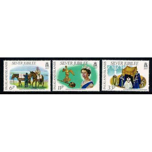 Falkland Islands. 1977 Silver Jubilee. UM set of 3. SG 325-327