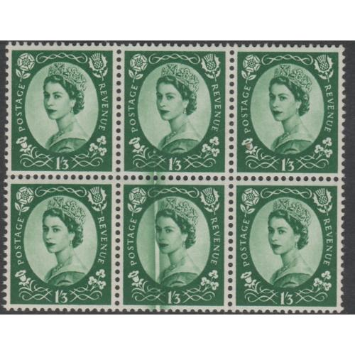 GB 1952 WILDING  1s3d Tudor block with DOCTOR BLADE FLAW mnh