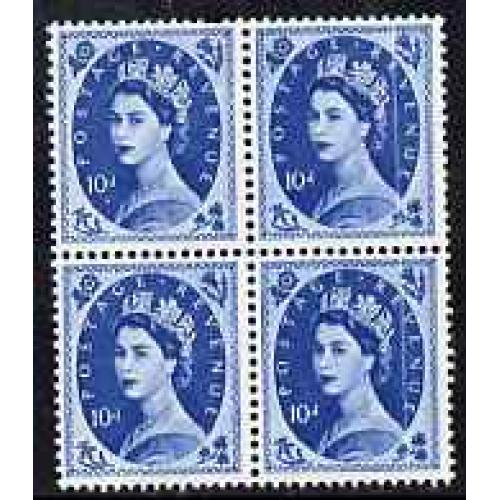 GB 1958 WILDING  10d Crowns block with DOCTOR BLADE FLAW mnh