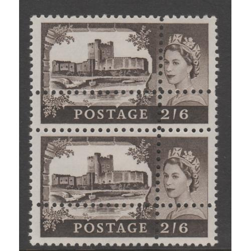 Great Britain 1967 CASTLES 2s6d pair with PERFORSTIONS DOUBLED - FORGERY