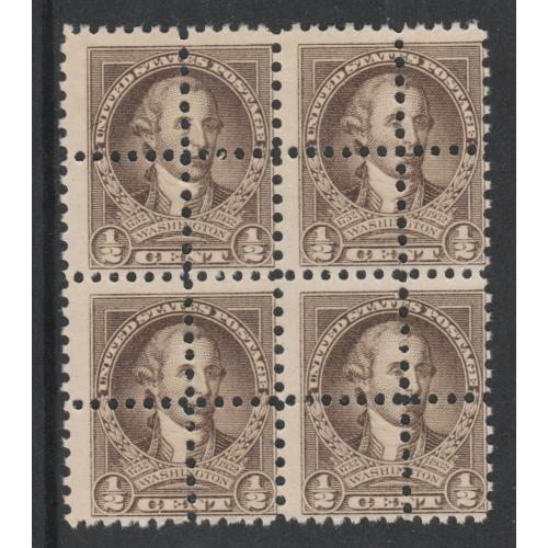 USA 1932 WASHINGTON 1/2c BLOCK of 4  with  DOUBLE  PERFS - FORGERY