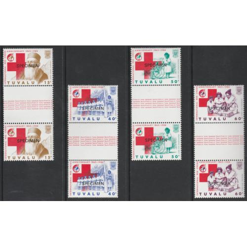 Tuvalu 1988 RED CROSS set of 4 GUTTER PAIRS opt'd SPECIMEN mnh