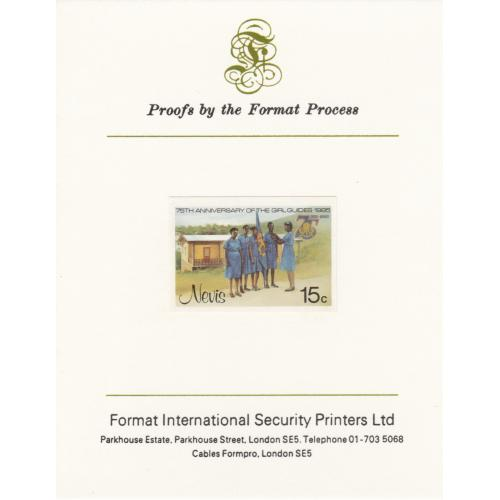 Nevis 1985 GIRL GUIDES 15c mperf on FORMAT INTERNATIONAL PROOF CARD