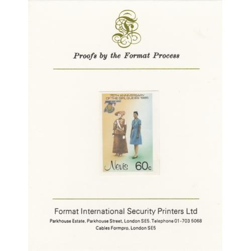 Nevis 1985 GIRL GUIDES 60c mperf on FORMAT INTERNATIONAL PROOF CARD