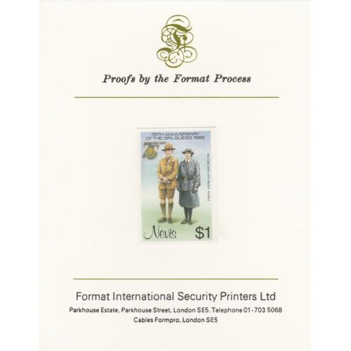 Nevis 1985 GIRL GUIDES $1 mperf on FORMAT INTERNATIONAL PROOF CARD