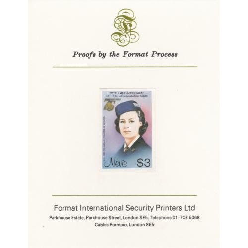 Nevis 1985 GIRL GUIDES $3 mperf on FORMAT INTERNATIONAL PROOF CARD