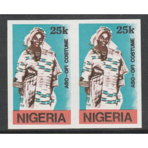 Nigeria 1989 TRADITIONAL COSTUMES 25k  IMPERF PAIR mnh