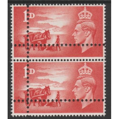GB 1948 LIBERATION 1d pair with DOUBLE PERFS - FORGERY