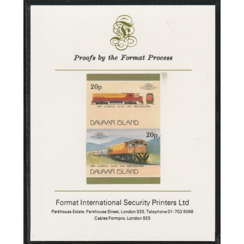 Davaar 1983 LOCOMOTIVES - DIESEL NZR imperf on FORMAT INTERNATIONAL PROOF CARD