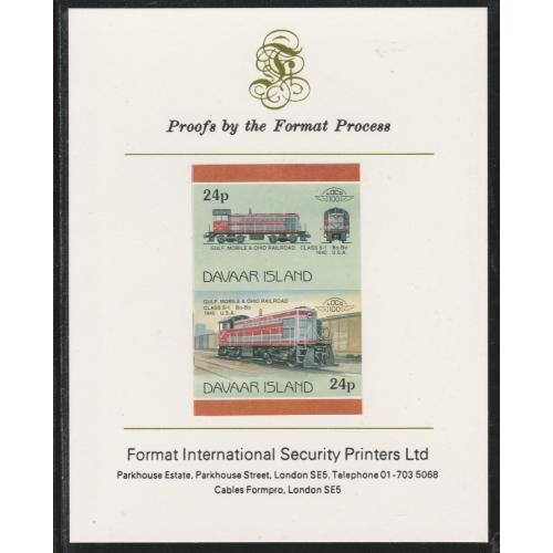 Davaar 1983 LOCOMOTIVES - DIESEL GM&O imperf on FORMAT INTERNATIONAL PROOF CARD