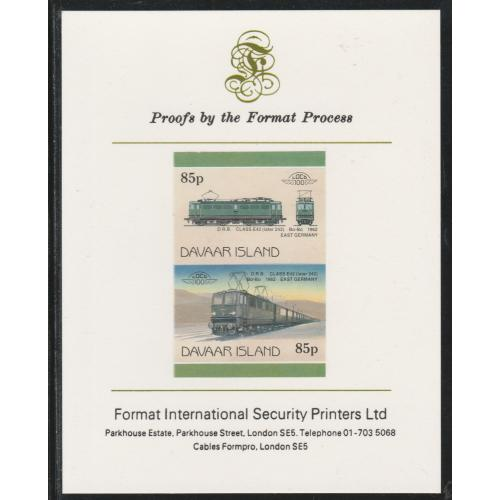 Davaar 1983 LOCOMOTIVES - ELECTRIC DRB imperf on FORMAT INTERNATIONAL PROOF CARD