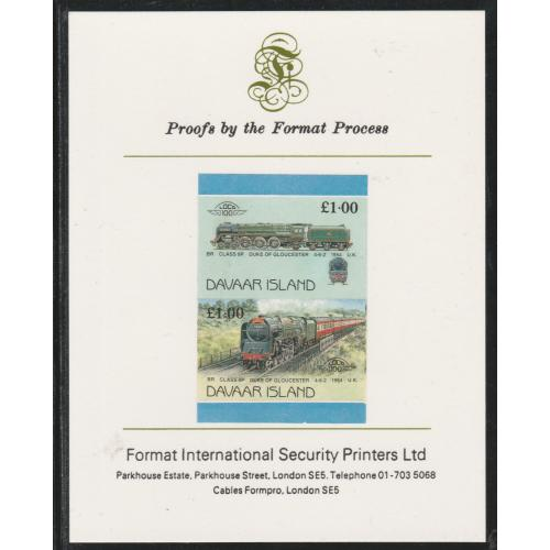 Davaar 1983 LOCOMOTIVES - DUKE of GLOUCESTER imperf on FORMAT INTERNATIONAL PROOF CARD