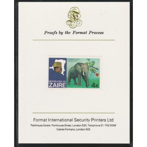 Zaire 1979 RIVER EXN - ELEPHANT  on FORMAT INTERNATIONAL PROOF CARD