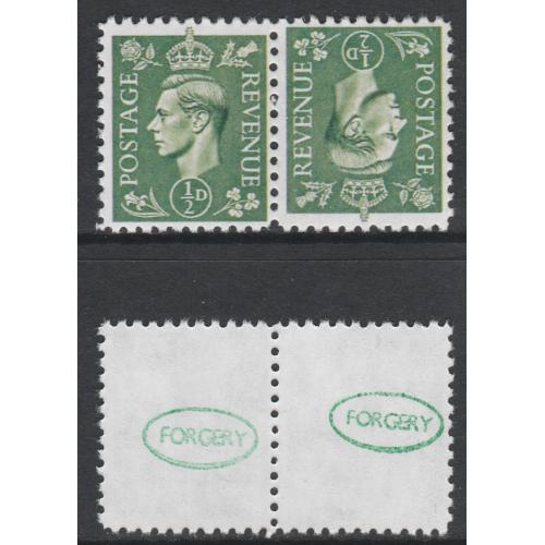 Great Britain 1941 KG6 1/2d pale green  tete-beche pair - Maryland Forgery