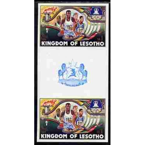Lesotho 1984 LOS ANGELES OLYMPICS - RUNNING IMPERF PAIR mnh