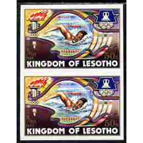 Lesotho 1984 LOS ANGELES OLYMPICS - SWIMMING IMPERF PAIR mnh