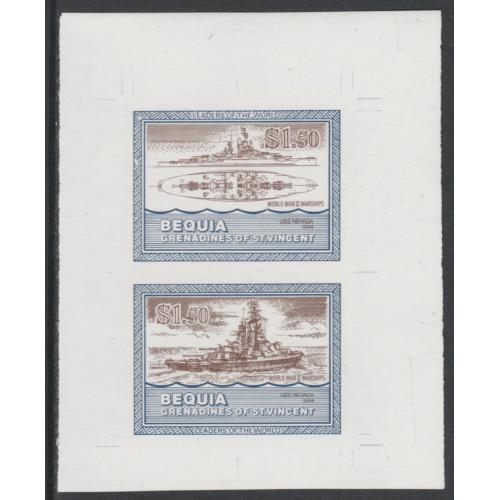 St Vincent Bequia - 1985 WARSHIPS -IMPERF COLOUR TRIAL PROOF ex archives