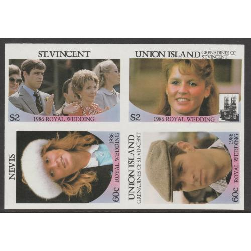 St Vincent & Nevis  1986 ROYAL WEDDING PROOF BLOCK OF 4 mnh