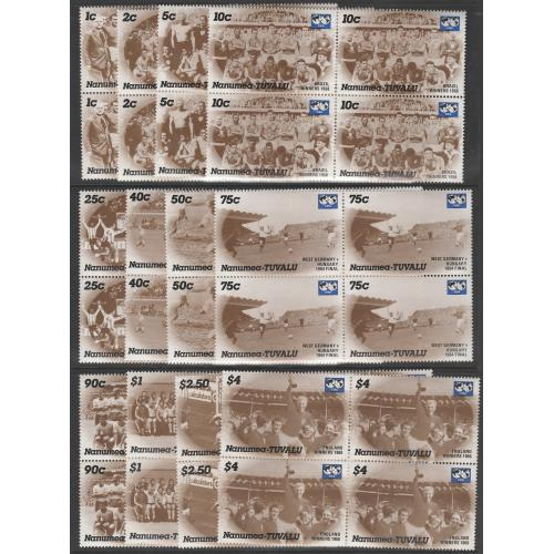 Tuvalu Nanumea 1986 FOOTBALL set of 12 in BLOCKS OF $ mnh