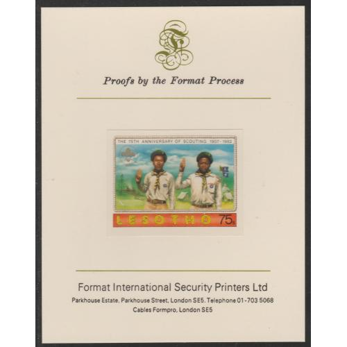 Lesotho 1982 75th ANNIV SCOUTING 75s  on FORMAT INTERNATIONAL PROOF CARD