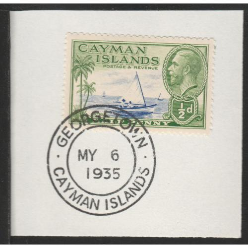 Cayman Islands  1935 KG5 PICTORIAL 1/2d with MADAME JOSEPH FORGED CANCEL