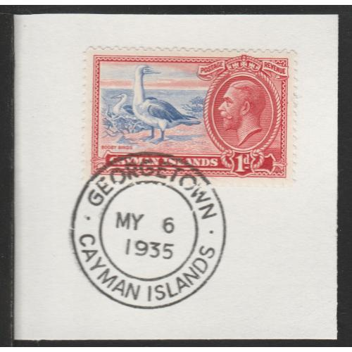 Cayman Islands  1935 KG5 PICTORIAL 1d with MADAME JOSEPH FORGED CANCEL