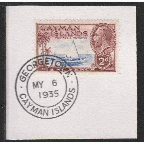 Cayman Islands  1935 KG5 PICTORIAL 2d with MADAME JOSEPH FORGED CANCEL