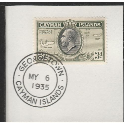 Cayman Islands  1935 KG5 PICTORIAL 3d with MADAME JOSEPH FORGED CANCEL