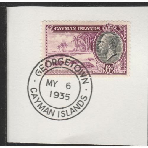 Cayman Islands  1935 KG5 PICTORIAL 6d with MADAME JOSEPH FORGED CANCEL