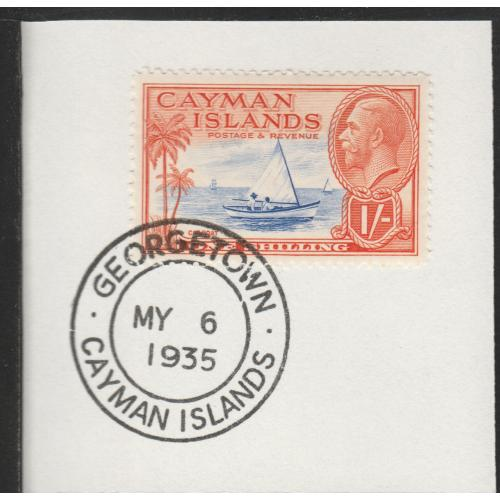 Cayman Islands  1935 KG5 PICTORIAL 1s with MADAME JOSEPH FORGED CANCEL
