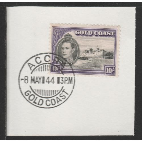 Gold Coast 1938 KG6 CASTLE 10s with MADAME JOSEPH FORGED CANCEL