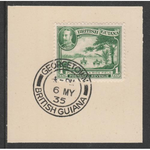 British Guiana 1934 KG5 PICTORIAL 1c with MADAME JOSEPH FORGED CANCEL