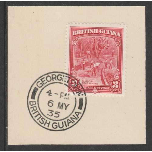 British Guiana 1934 KG5 PICTORIAL 3c with MADAME JOSEPH FORGED CANCEL