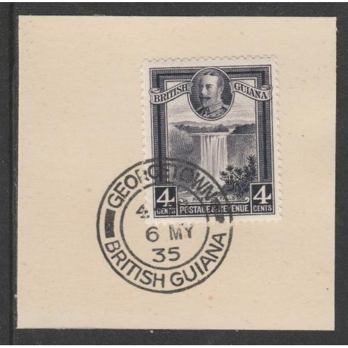 British Guiana 1934 KG5 PICTORIAL 4c with MADAME JOSEPH FORGED CANCEL