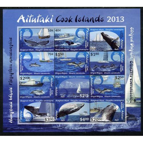 Cook Is Aitutaki 2013  WHALES & SHIPS  def m/sheet mnh