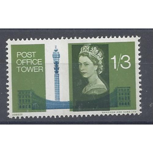 1965 P. O. TOWER 1/3d BRONZE-GREEN SHIFT