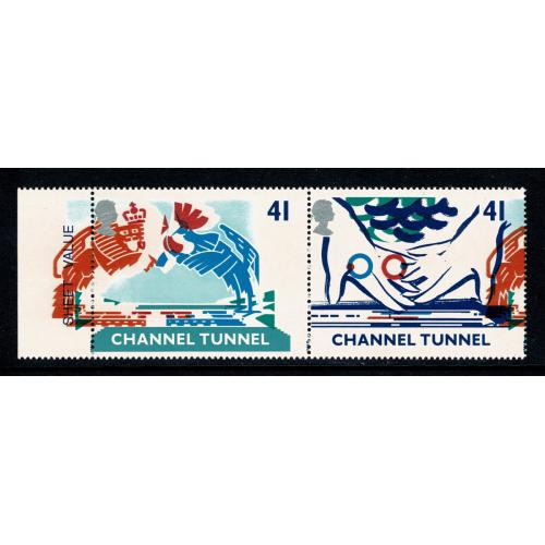 1994 Channel Tunnel. 41p s/t pair with MULTIPLE COLOUR SHIFTS. SG 1822 var.